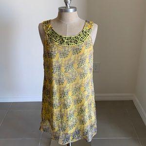 THEME YELLOW FLORAL EMBELLISHED TANK DRESS GU SZ M